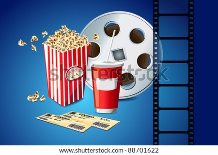 illustration of pop corn with movie film reel