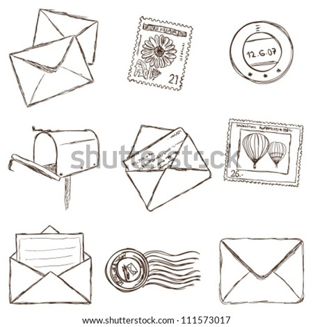 Illustration of postal and mailing icons - sketch style. envelop and stamp drawings. mail sketch. post signs hand drawn. email doodle set.