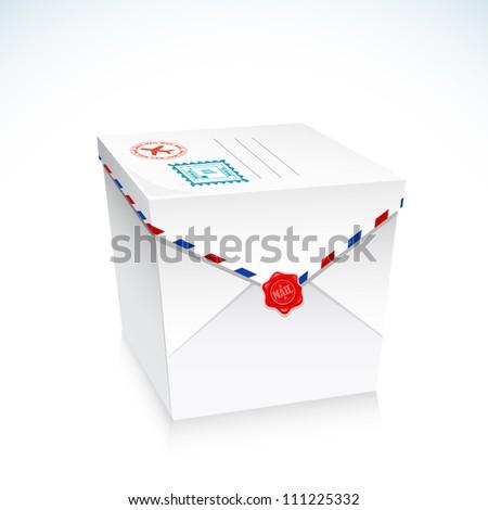 illustration of postal envelope in shape of gift box