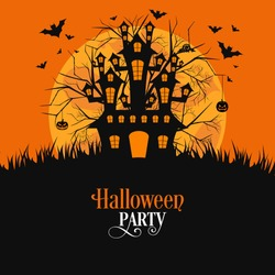 illustration of poster,banner or invitation of Halloween party.
