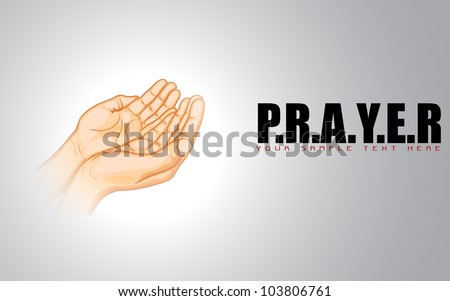 illustration of praying hand on abstract background