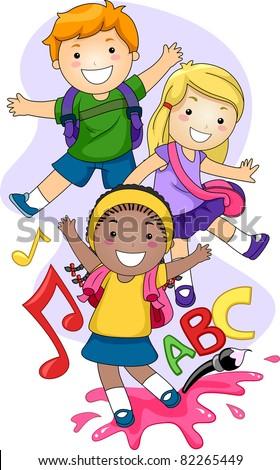Illustration of Preschool Kids Playing - stock vector