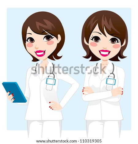 Illustration of pretty professional doctor woman holding tablet device and with arms crossed