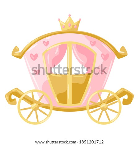 Illustration of princess carriage. Stylized picture for decoration children holiday and party. Stock photo ©
