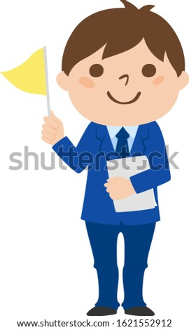 Illustration of profession. A young man guiding a group.