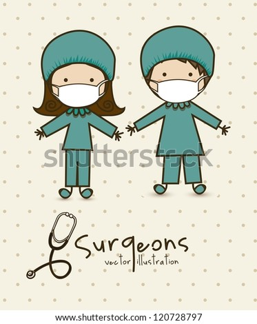 Illustration of professions, couple of doctor, vector illustration - stock vector