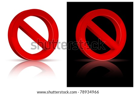 illustration of prohibited red sign on isolated white background, vector - stock vector
