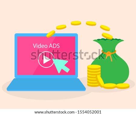 illustration of promotion video advertise get money income. passive income from technology