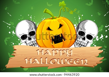 illustration of pumpkin and skull in grungy halloween card