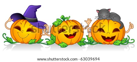 Illustration of Pumpkin Characters Posing Happily