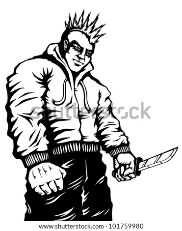 Illustration of punk with a knife in his hand