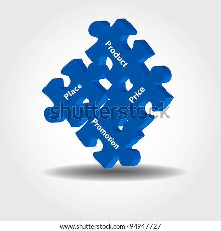 Illustration of puzzle pieces about marketing management 4P model - product, pricing, promotion, place