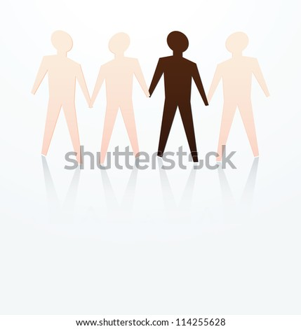 illustration of race concept, dark skin among fair skin