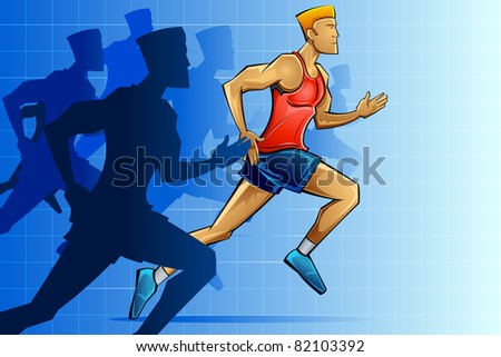 illustration of racers running in marathon race