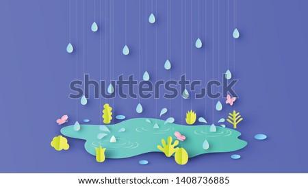 Illustration of rainy season with plants, grass, butterflies and rain drop that are around beautiful pond. paper cut and craft style. vector,illustration.