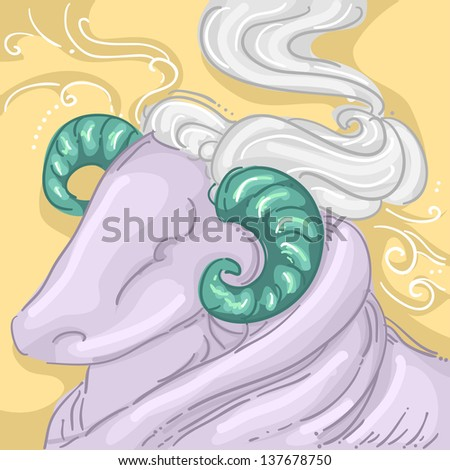Illustration of Ram or Male Sheep for Aries Design