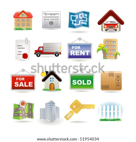 Illustration of real estate icon set