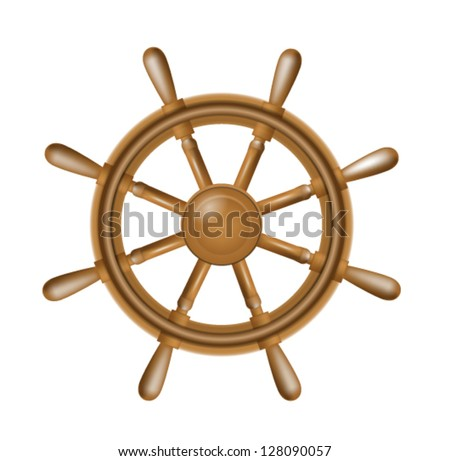 Illustration of realistic antique steering wheel for ship isolated on white background