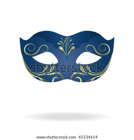 Illustration of realistic carnival or theater mask isolated on white background - vector