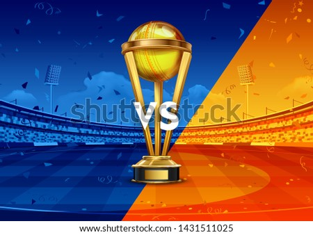 illustration of Realistic Golden Cup Trophy for Cricket sport tournament game