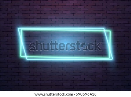 Illustration Of Realistic Vector Neon Frame Icon Vintage Sign Bar Advertising Retro Glowing