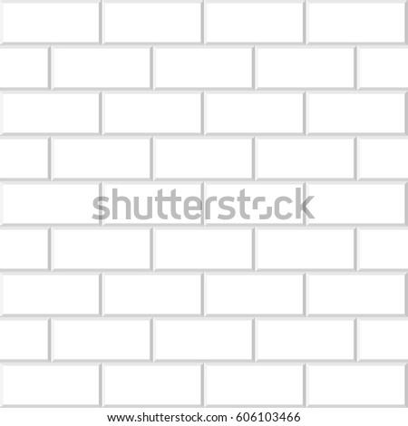 Illustration of rectangular horizontal white tiles background, beveled White Brick Wall Tiles texture for use interior kitchen or bathroom