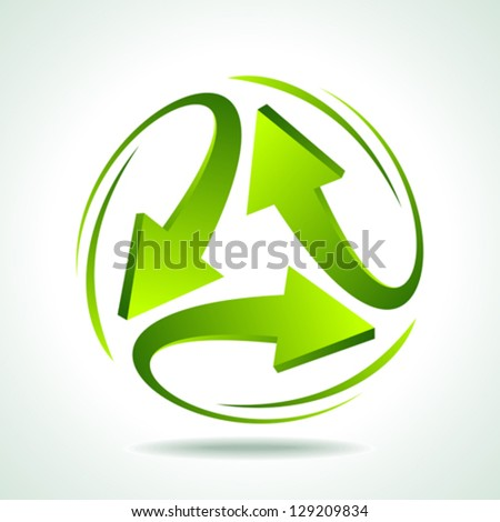 illustration of recycle arrow on isolated background