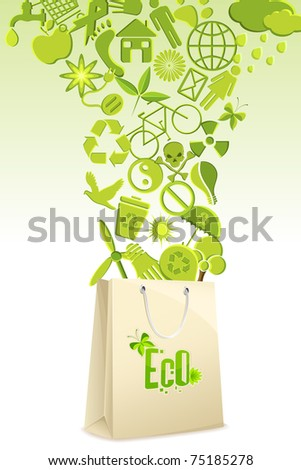 illustration of recycle items coming out of shopping bag