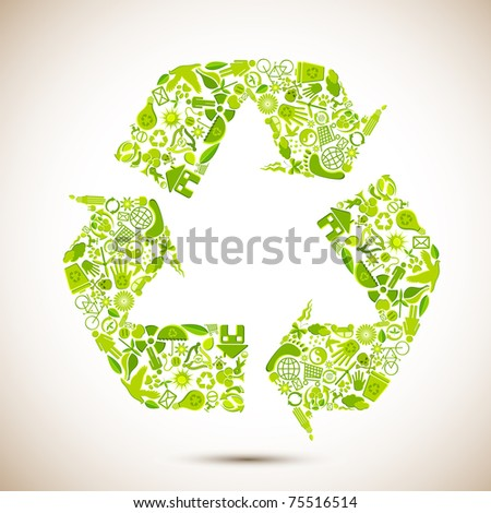 illustration of recycle symbol formed by many recycle item
