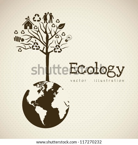 Illustration of recycling with ecological icons Save the Planet vector illustration