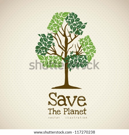Illustration of recycling with ecological icons, Save the Planet. vector illustration - stock vector