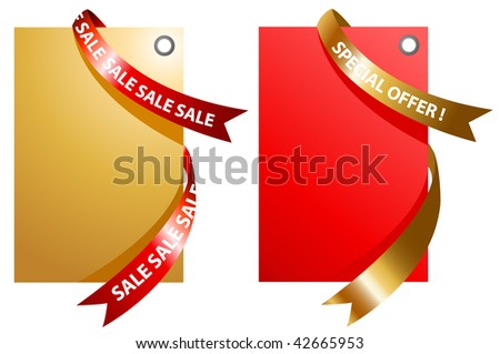 illustration of red and gold signage with ribbon