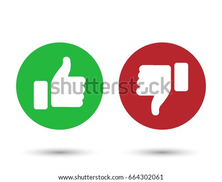 Illustration of red and green thumbs up and down buttons; isolated on white background.