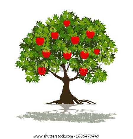 illustration of red apple tree