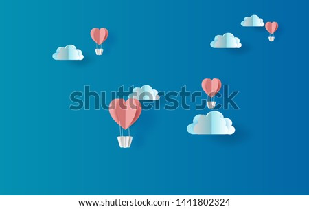 illustration of red balloons heart floating with skyscape view scene place for your love text space blue background.Valentine's day concept.Summer.Paper cut and craft style vector for greeting card