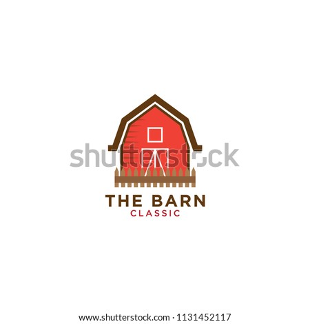 Illustration of red barn logo design template