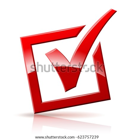 Illustration of red check box on white background