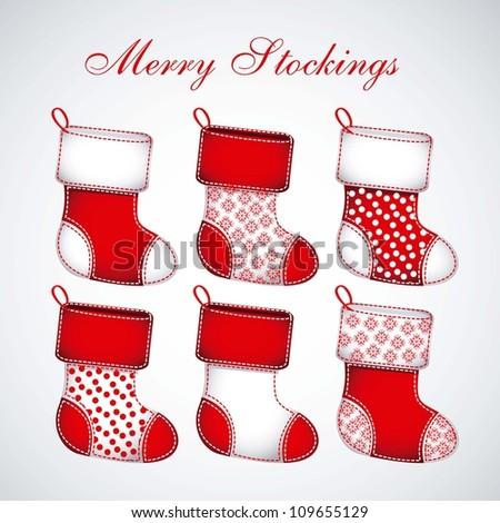 Illustration of  Red Christmas stockings on white background, vector illustration