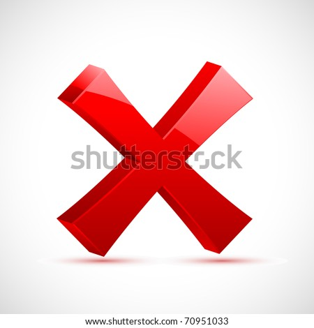 illustration of red cross mark on isolated background