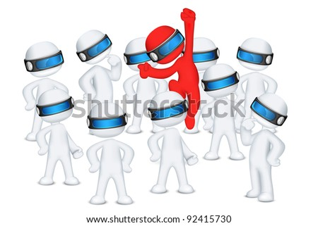 illustration of red 3d man in vector fully scalable jumping out in crowd