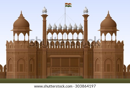 illustration of red fort in new