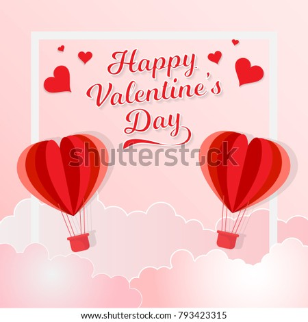 Illustration of red heart balloon flying on the sky with the words for valentine's day #793423315
