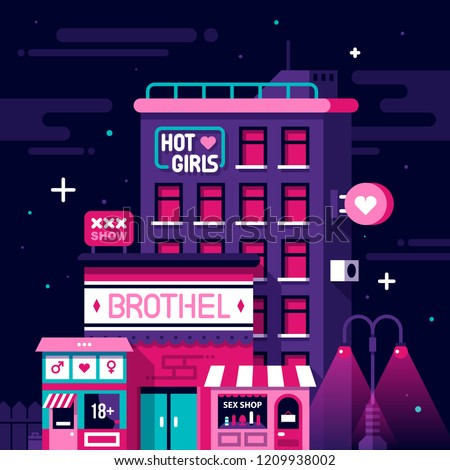 Illustration of red lights district. Brothel, strip club, sex shop, neon signs.