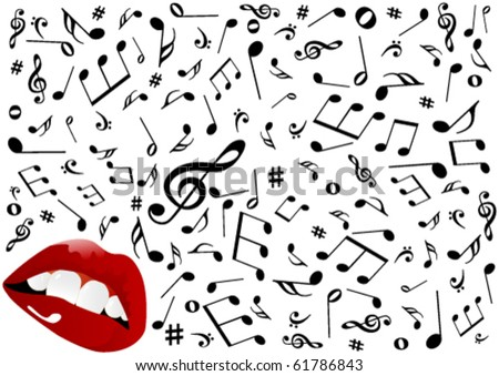 Illustration of red lips singing - stock vector