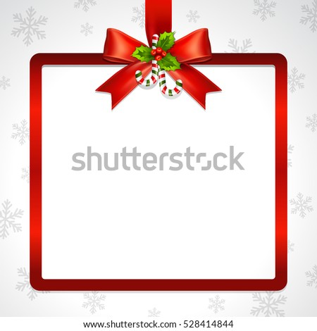 Illustration of red ribbon bow vector with Christmas square frame on snowflake background