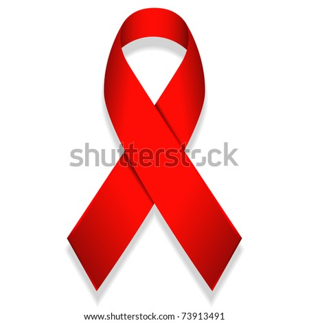 illustration of red ribbon isolated on white background