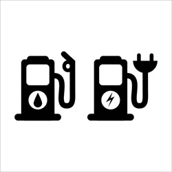illustration of refueling points for oil and electricity, for icons or symbols