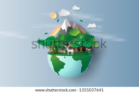 illustration of reindeer in green trees forest,Creative Origami design world environment and earth day concept idea.landscape Wildlife with Deer in green nature plant by rainbow pastel.paper cut,craft
