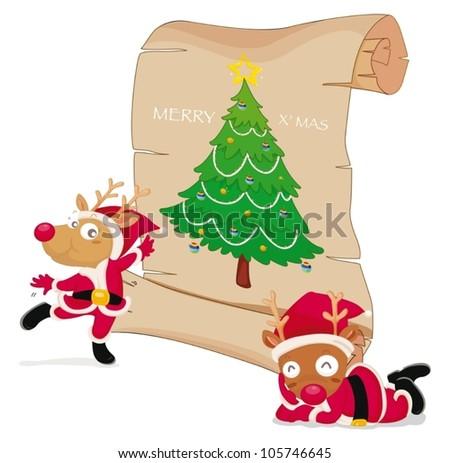 illustration of reindeers celebrating christmas