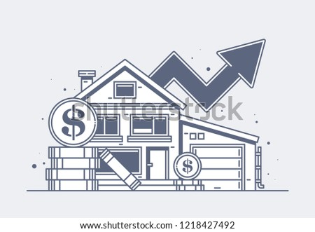 Illustration of residential building and big dollar coins. Property tax, mortgage, rising house prices.
